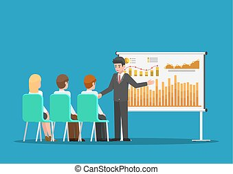 Businessman presenting financial and marketing data on presentation board.