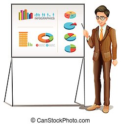 Businessman presenting graphs on the board