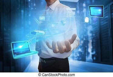 Businessman presenting interface