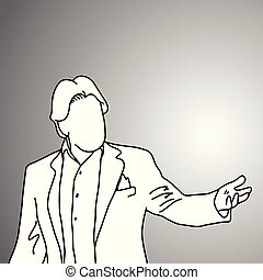 businessman presenting something vector illustration doodle sketch hand drawn with black lines isolated on gray background. Business concept.