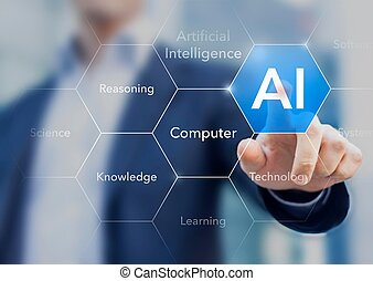 Businessman presenting the concept of AI