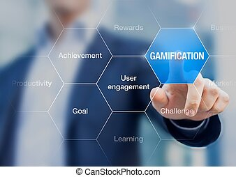 Businessman presenting the concept of Gamification