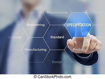 Businessman presenting the concept of specification