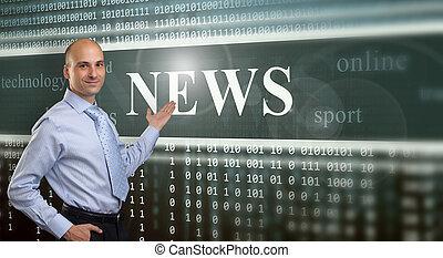 Businessman Presenting The News on digital screen