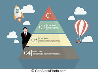 Businessman presenting the Pyramid Chart Infographic