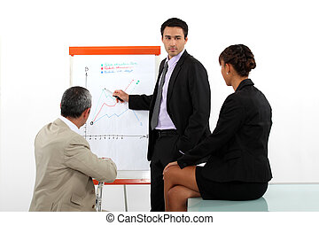 Businessman presenting the results of a market research
