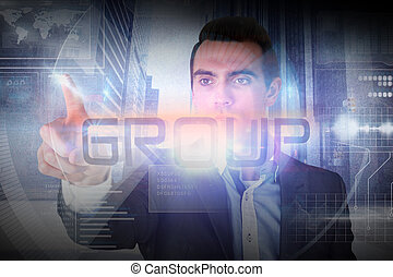 Businessman presenting the word group