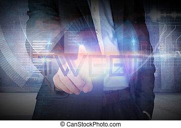 Businessman presenting the word tweet