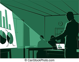 businessman presenting to his audiences.