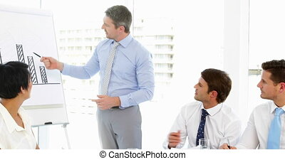 Businessman presenting to his staff