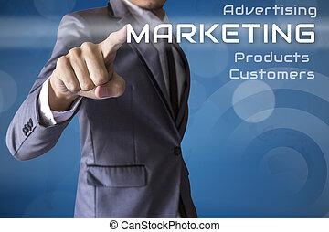 Businessman press Marketing of business conceptual