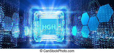 Businessman presses button hgh on virtual screens. Business, Technology, Internet and network concept