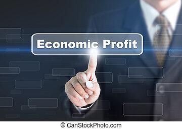 Businessman pressing a Economic Profit concept button.