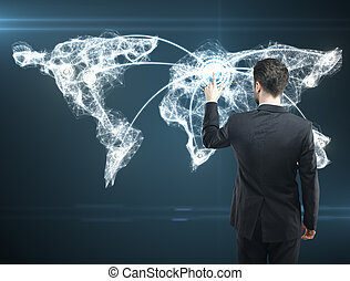 Social Network - Businessman pressing a touchscreen Social...