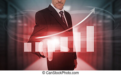 Businessman pressing bar chart and