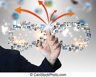 Businessman pressing business communication