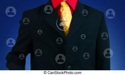 Businessman pressing button