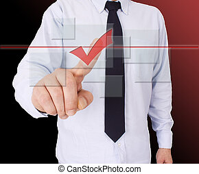 businessman pressing button