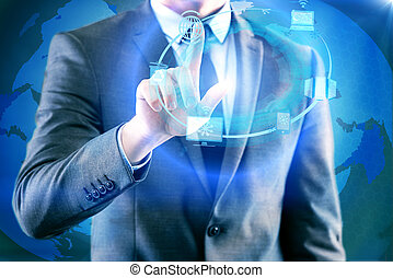 Businessman pressing buttons in computing concept