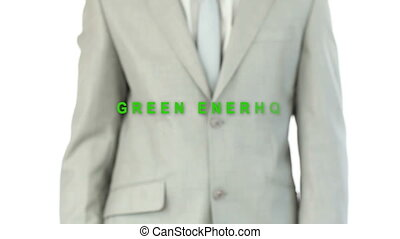 Businessman pressing energy button