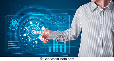 Businessman pressing high tech type of modern buttons
