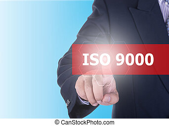 Businessman pressing iso 9000