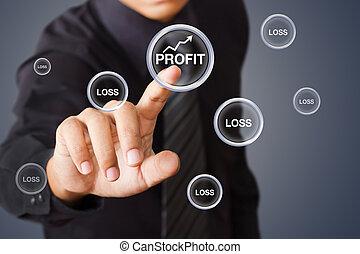 Businessman pressing Profit button