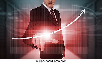 Businessman pressing red growth arrow interface in data...