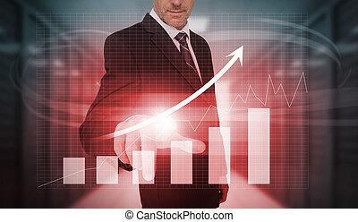 Businessman pressing red growth arr