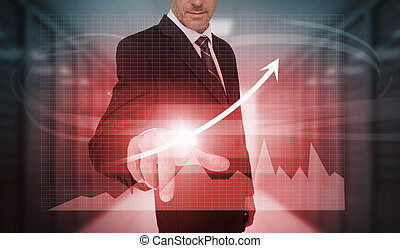 Businessman pressing red growth arrow and graph interface