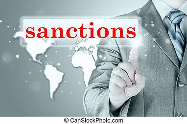 businessman pressing sanctions button on virtual screens