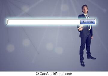 Businessman pressing Search engine button