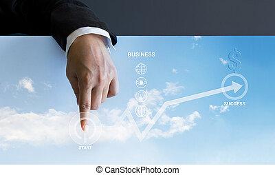 Businessman pressing start business buttons and business graph u