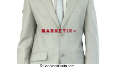 Businessman pressing the marketing