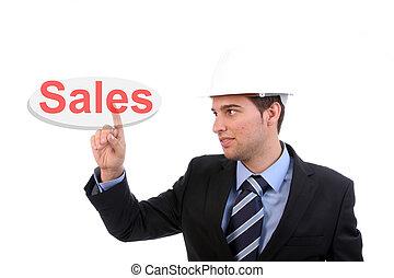 Businessman pressing the sales key