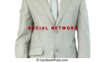 Businessman pressing the social net