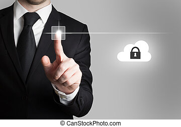 businessman in office pressing touchscreen button cloud security