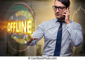 Businessman pressing virtual button offline