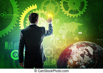 Businessman pressing virtual button on screen