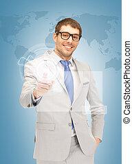 businessman pressing virtual button