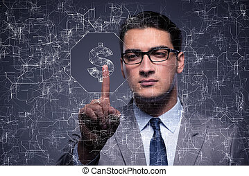Businessman pressing virtual button with dollar