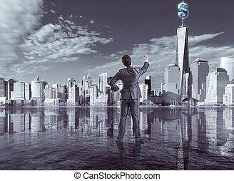 Businessman pressing virtual dollar button