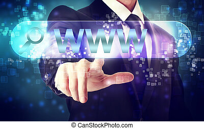 Businessman pressing WWW button