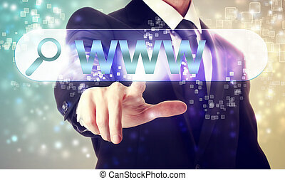 Businessman pressing WWW search button on shiny background