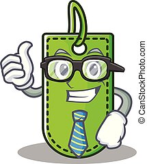 Businessman price tag character cartoon