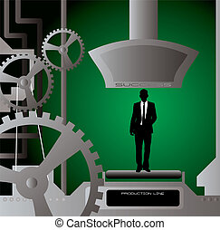 Businessman production line with cogs and pipes in the background