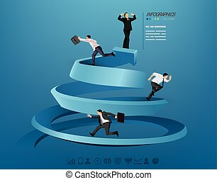 Businessman progressing illustration