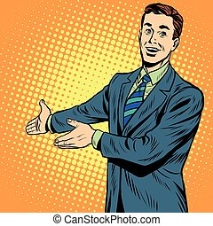 businessman promo poster pop art retro pop art retro vector...
