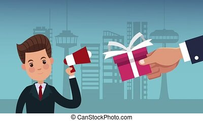 Businessman promoting gifts at city HD animation -...
