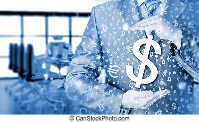businessman protecting dollar symbol